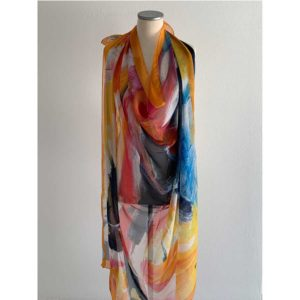 The Art & Fashion Project Orange Abstract Muslin Scarf TAFP4.MUSLIN