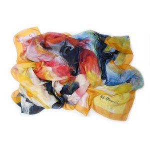 The Art & Fashion Project Orange Abstract Muslin Scarf TAFP4.MUSLIN