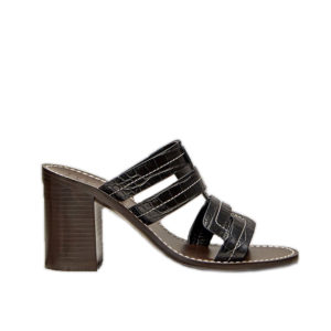 Trademark Interlock Faux Croc Heeled Black Sandals