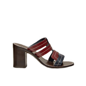 Trademark Interlock Vachetta Heeled Blue/Bordeaux Sandals