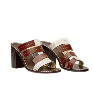 Trademark Interlock Vachetta Heeled Tobacco Sandals