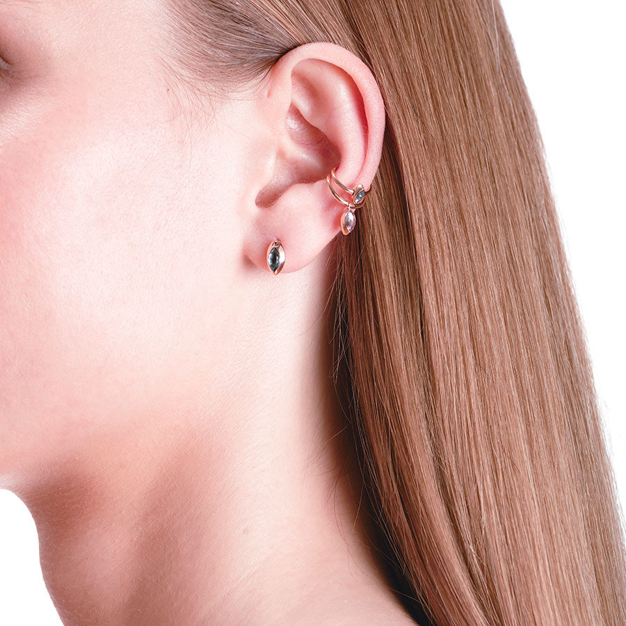 Marie Mas Swinging Maquise Studs on model