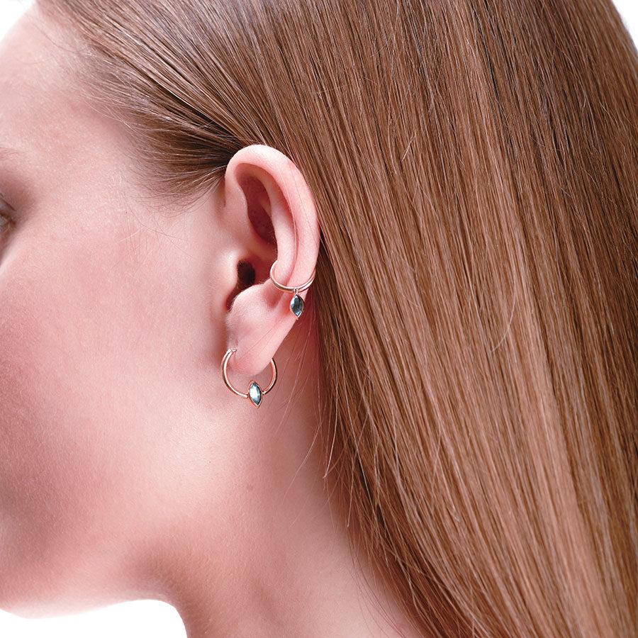 Marie Mas Marie Mas Swinging Mini Hoop Earrings on model