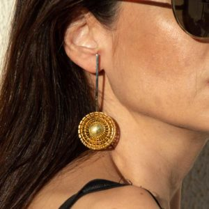 Aelia Kinesis Movement Earrings FES010Gsmall on model