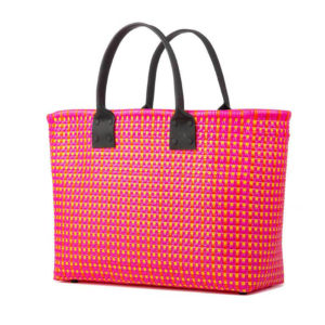 TRUSSNYC Large Tote Laether Handle W Pocket in Pink and Orange