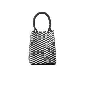 TRUSSNYC Medium Woven Leather Plastic Top Handle Bag In Blk White