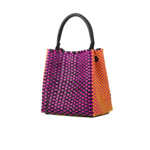 TRUSSNYC Medium Woven Leather Plastic Top Handle Bag In Fucshia Yellow