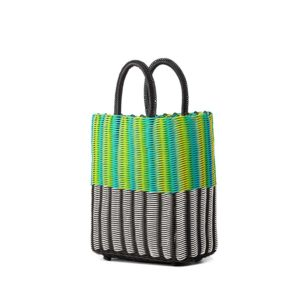 TRUSSNYC Small Tubeweave Tote in Half Blk White Green Yellow Cyan
