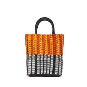TRUSSNYC Small Tubeweave Tote in Half Blk White Red Orange Yellow