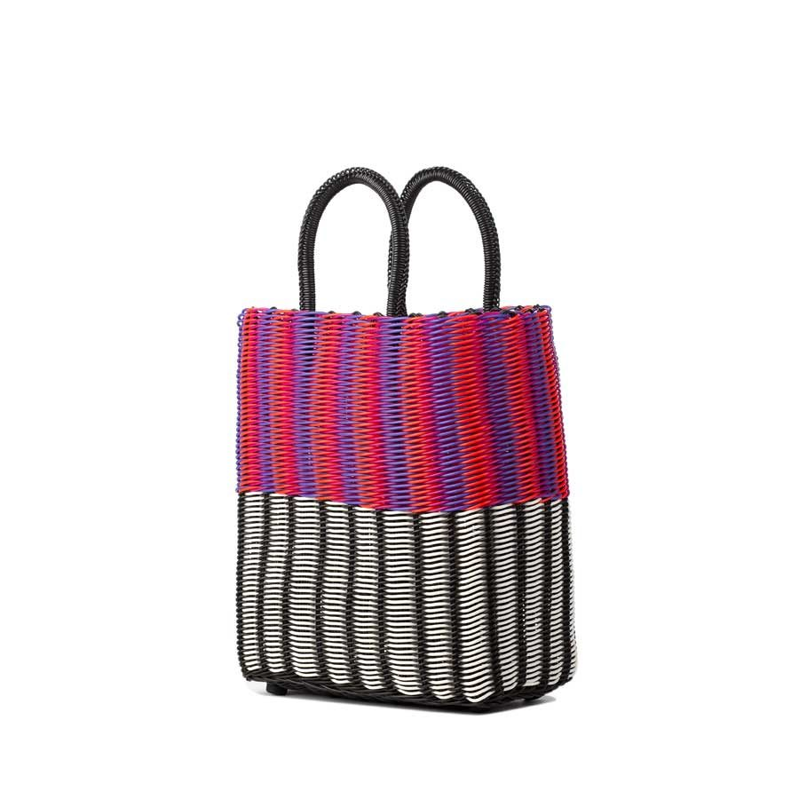 TRUSSNYC Small Tubeweave Tote in Half Blk-White and Pink Orange Purple