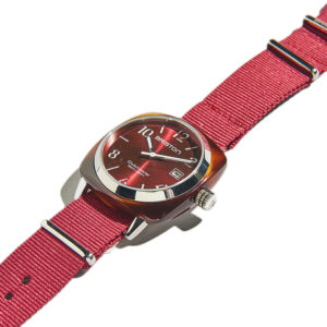 Briston Clubmaster HMS Date Steel Tortoise Acetate Red Sunray Dial