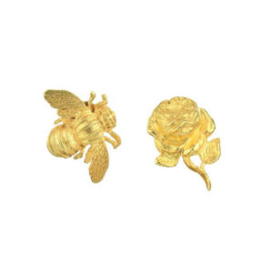 Katerina Psoma Flower and Bee Metal Clip Earrings SS19EBEE