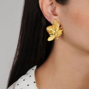 Katerina Psoma Flower and Bee Metal Clip Earrings on model SS19EBEE