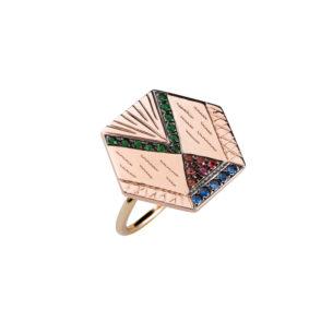 Maria Kaprili Rose Gold Zuhno Ring RZH-R9-SATS