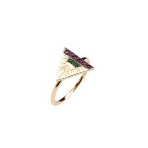 Maria Kaprili Yellow Gold Engraving Ring RZN-Y14TR-RUTS53