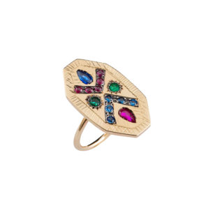 Maria Kaprili Yellow Gold Zuhno Ring ZN-Y9-SARUEM53