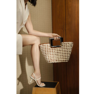 Marina Raphael RIVIERA Mini In Ivory Woven Shearling on model F2RMSH02106