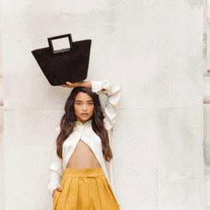 Marina Raphael Riviera Mini Bag In Coal Suede