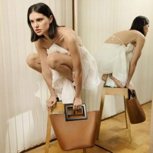 Marina Raphael Riviera Mini Bag In Hazel Napa on model F2RMLR01221