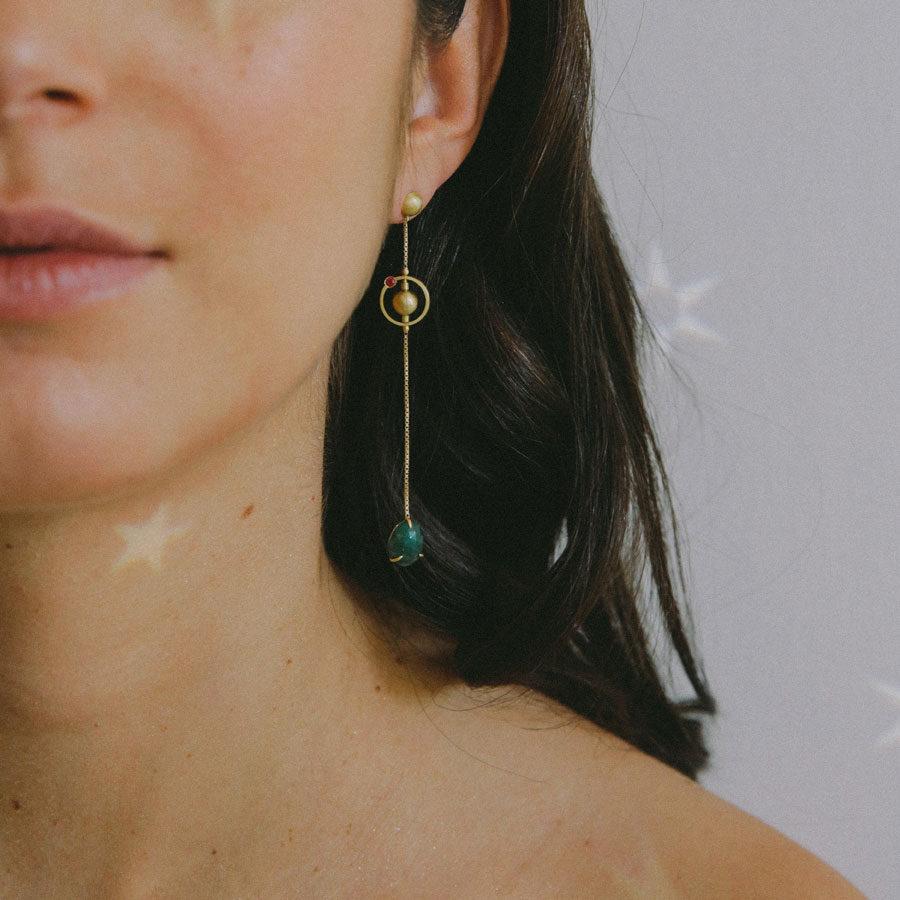 Pari Sofianou Pea Galaxies Earrings on model PSOFEAR5