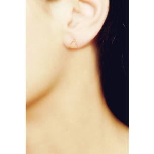 Christina Soubli Basics Triangle Stud Earrings on model BAS01