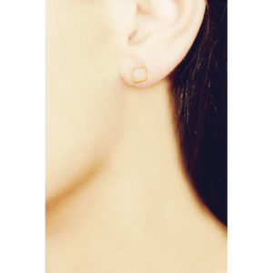 Christina Soubli Basics Square Stud Earrings on model BAS03