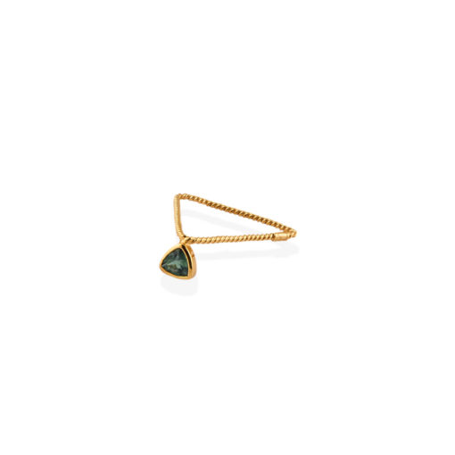 Christina Soubli Basics Triangle Ring Band with Green Tourmaline BAS05T