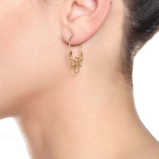 Christina Soubli Dentelles Tiny Hoop Earrings with Diamonds on model DEN15D
