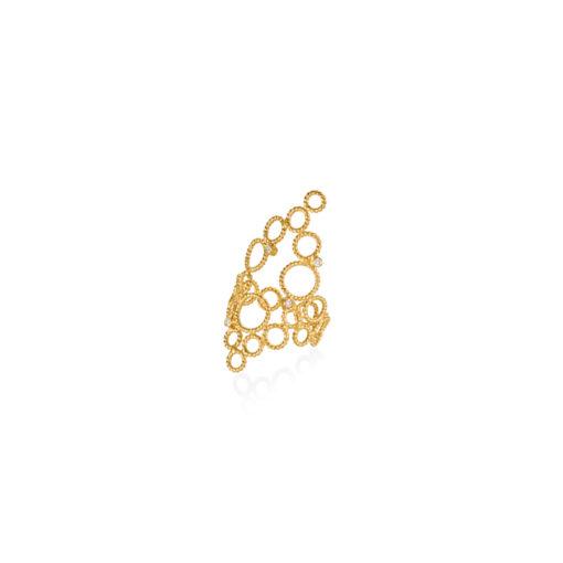Christina Soubli Dentelles Brokar Ring with 4 Diamonds DEN33