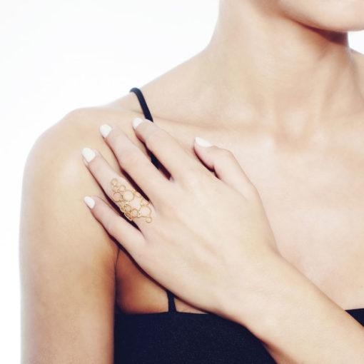 Christina Soubli Dentelles Brokar Ring with 4 Diamonds on model DEN33