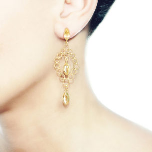 Christina Soubli Dentelles Chandelier Earrings with Citrines on model DEN42