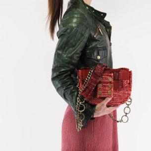 KOORELOO Fabric and Leather Shoulder Bag Pixel Orbit Red on model 10102.26.26