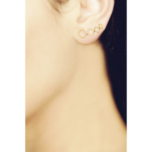 Christina Soubli Tattoo Square Ear Climbers on model TAT02
