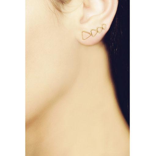 Christina Soubli Tattoo Triangle Ear Climbers on model TAT03