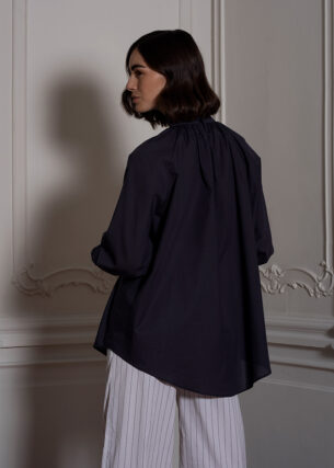 Gathered High Neck Blouse in Blue