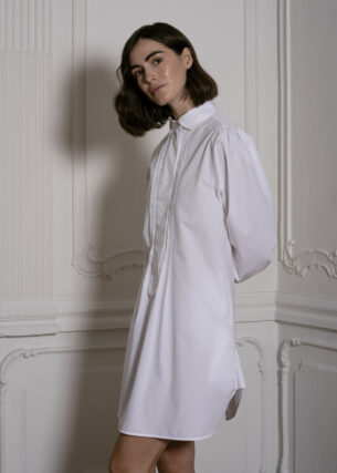 Shirt Dress with Pleated Front