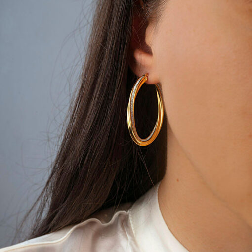 TWISTED OVALE GOLD HOOPS SOR.178072