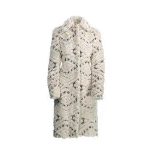 Coat Eco Fur White Ivory-Grey