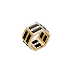 Triple Ring in 18k yellow gold and onyx baguette