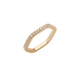 yellow gold ring with white diamonds by mania zamani