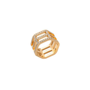 Triple row ring with white diamonds